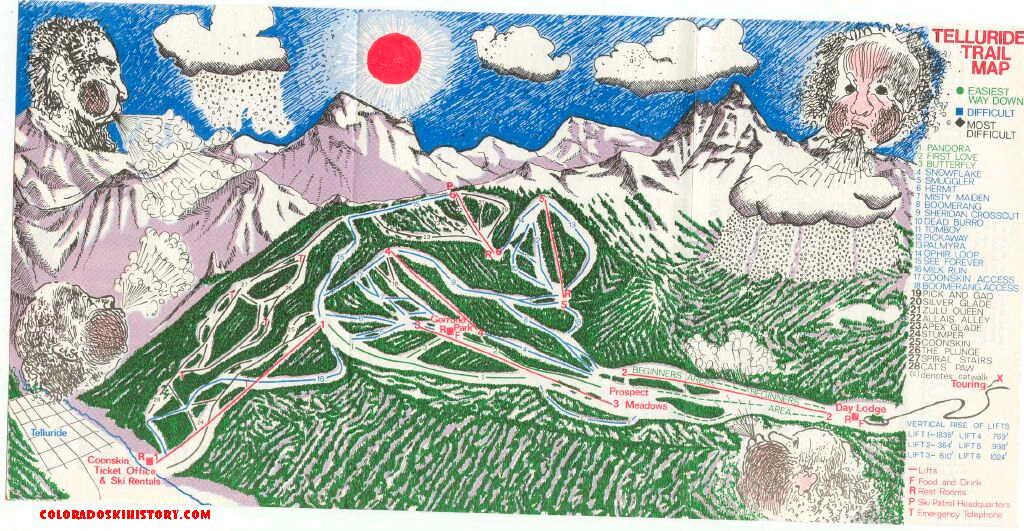 The History Of Telluride Ski Area - Vintage ski maps